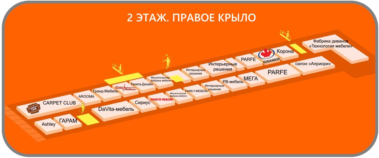 схема ТВК Килибр, 2 этаж правое крыло