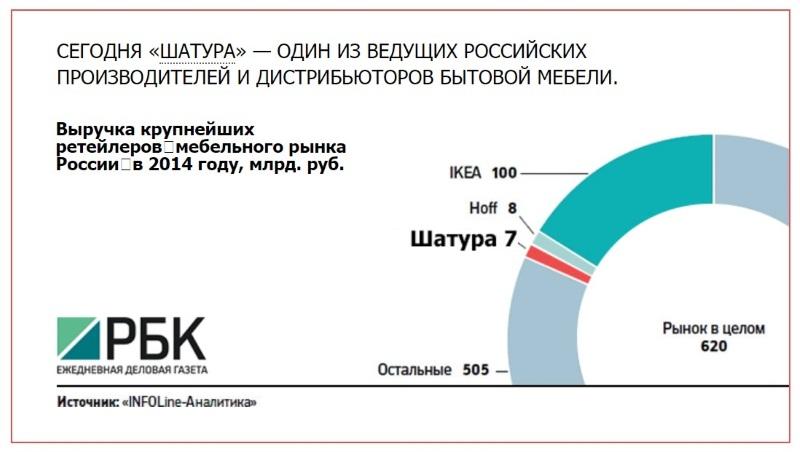 """доля выручки компании """"Шатура"""""""
