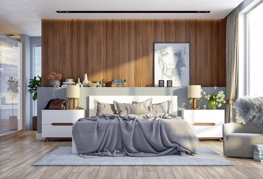 сочетание белого, серого и древесного в интерьере