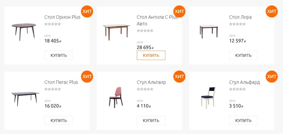 """столы и стулья """"Зона завтрака"""""""