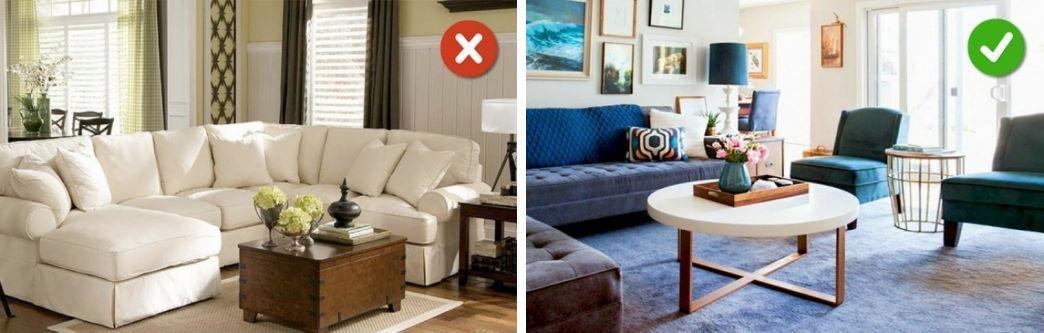 правильный и неправильный размер мебели