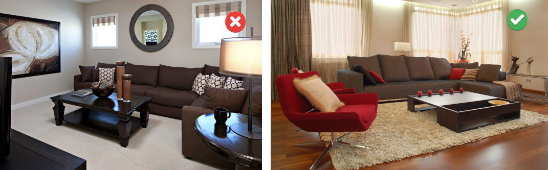 перебор с темной мебелью в гостиной