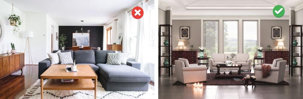 ошибки расстановки мебели в гостиной